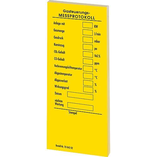 WS   Messprotokoll selbstklebende Kessel- aufkleber, für Gas, gelb 1 ...