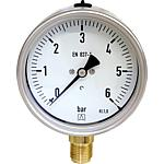 Bourdon tube pressure gauge with stainless steel housing, radial
