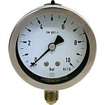 Bourdon tube pressure gauge in a chemistry design, radial