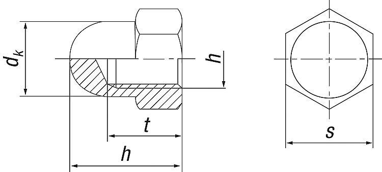 50 Hutmuttern DIN 1587 Edelstahl A2 M 4
