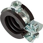 Flexible pipe clamp, one-piece, galvanised